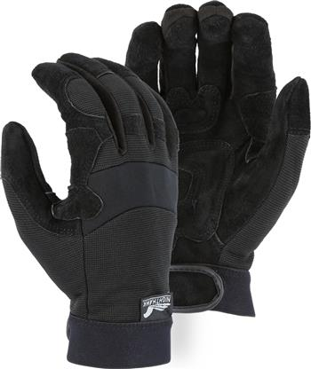 Majestic 2120 Mechanics Style Glove, Reversed Cowhide Grain Palm w/ Reinforced Padded Palm, Neoprene Knuckle