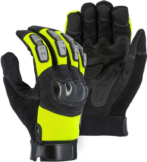 Majestic 2123HVY Mechanics Glove, Armor Skin Palm, PVC Patch, Hi Vis Yellow Knit Back,