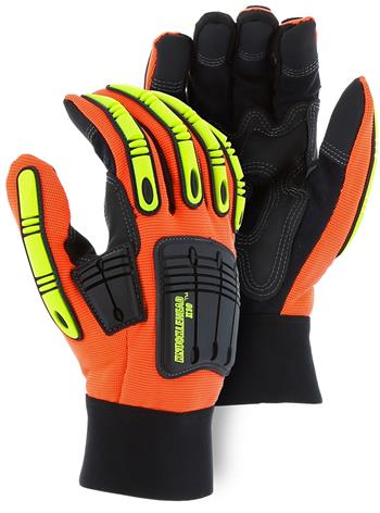 Majestic 21242HO Knucklehead X10 Mechanics Glove, Armor Skin, Neoprene Padding, PVC Patches, Hi Vis Orange, Box/Dozen Pairs -  Box/12 Pairs