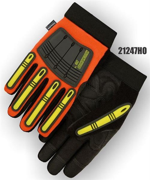 Majestic 21247HO Knucklehead X10 Mechanics Winter Glove, Armor Skin Leather Palm, Thinsulate Lined, Neoprene Padding, PVC Patches, Waterproof & Hydrocarbon Proof, Hi Vis Orange- Box/12 Pairs