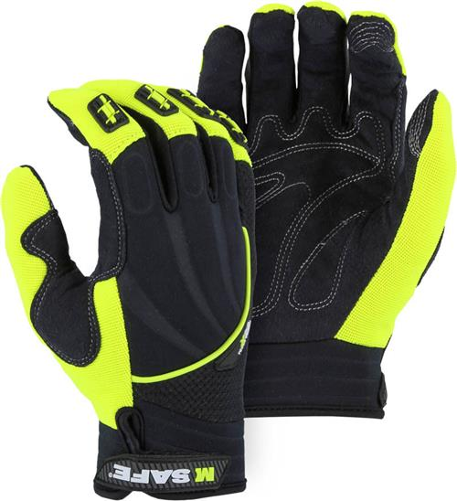 Majestic 2127HY X20 Armor Skin Mechanics Gloves, Neoprent Back, Finger Guards & Touch Screen Thread, Black & Hi Vis Yellow, Box/ 12 Pairs