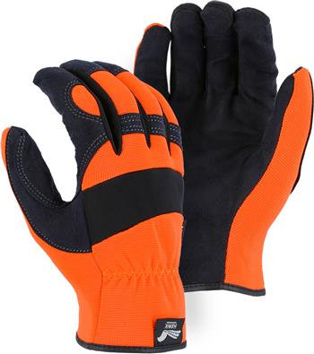Majestic 2136HO Armor Skin Glove, Unlined, Hi Vis Orange, Elastic Wrist