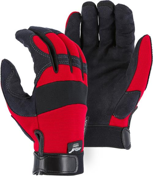 Majestic 2137R Armor Skin Glove, Unlined, Red, Velcro Closure