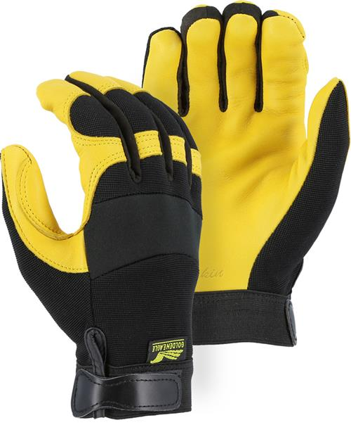 Majestic 2150 A-Grade Gold Deerskin Palm, Black Stretch Knit Back Neoprene Knuckle Mechanics Gloves - Box/12 Pairs