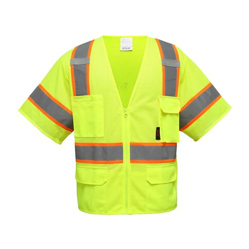 GSS Safety 2503 Class 3 Premium Vest w/6 Pockets-Lime