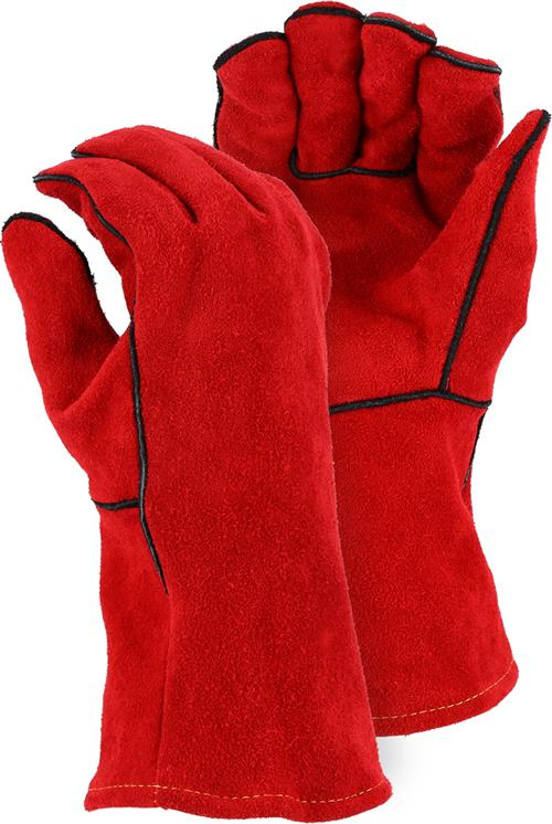 Majestic 2514A Select Shoulder Split Cowhide Welders Gloves, Traditional Wing Thumb, Box/12 Pairs