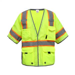 GSS Safety 2703 Class 3 Premium Breakaway Vest with Reflective Piping-LIME