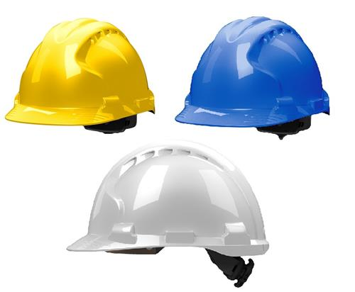 JSP MK8 Evolution Hard Hat, ANSI Type II, Class G & E,  Ratchet Adjustment, Polyester Suspension, EPS Liner, White - #280-AHS150-10