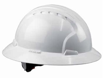 JSP Evolution Deluxe 6161 Full Brim Hard Hat, Wheel Ratchet, 6-Point Polyester Textile, Non-Vented, ANSI Z89.1-2009 Class E,  White # 280-EV6161-10
