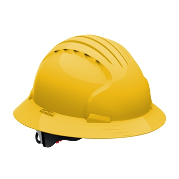 JSP Evolution Deluxe 6161 Full Brim Hard Hat, Wheel Ratchet, 6-Point Polyester Textile, Non-Vented, ANSI Z89.1 Class E , ​Yellow # 280-EV6161-20