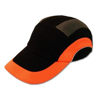 JSP Hardcap A1+ Bump Cap, Black/Hi-Vis Orange, Low-Profile Baseball Style, #282-ABR170-18