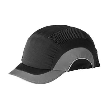 "JSP HardCap A1+ Bump Cap, Sleek Designs & Look, Low-Profile Baseball Style, Short 2"" Brim, Black/Black, #282-ABS150-11"