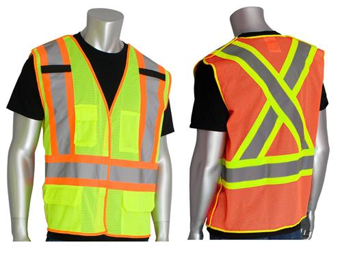 PIP 302-0211 Breakaway X Back Z96 Mesh Safety Vest Class 2 Type R Two Tone Hi Vis Lime or Orange