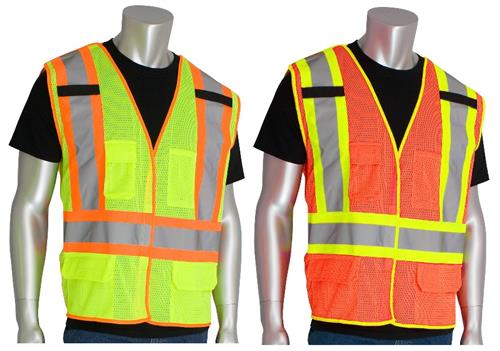 PIP 302-0212 Mesh Safety Vest Class 2 Type R Two Tone Five Pocket Breakaway Hi Vis Lime or Orange