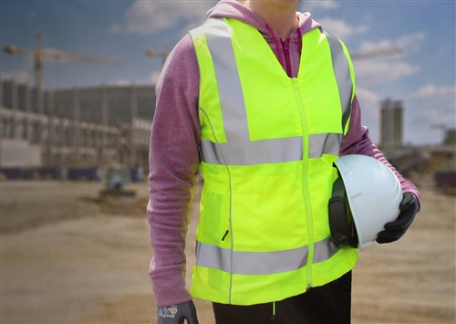 PIP 302-0312 ANSI Type R Class 2 Woman's Contoured Safety Vest, Solid Front, Mesh Back, Adjustable Waist, Hi Vis Yellow