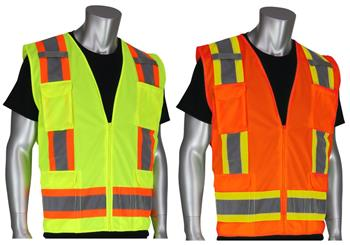 PIP 302-0500 Surveyor Safety Vest Class 2 Type R Two Tone 11 Pocket Solid Front / Mesh Back Hi Vis Lime or Orange