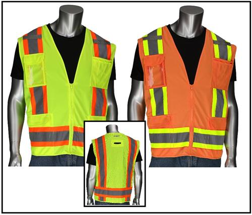 PIP 302-0500D Surveyor Safety Vest, Class 2 Type R Two Tone 11 Pocket Solid Front, Mesh Back with D-Ring Access, Hi Vis Lime or Orange