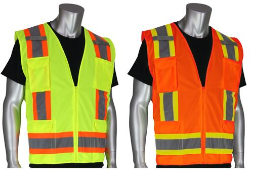 PIP 302-0500S Surveyor Safety Vest, Class 2 Type R Two Tone 11 Pocket, Solid Fabric, Hi Vis Yellow or Orange