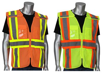 PIP 302-0590 ANSI Type R Class 2 Expandable Two-Tone Mesh Breakaway Vest, Hi Vis Yellow Or Orange