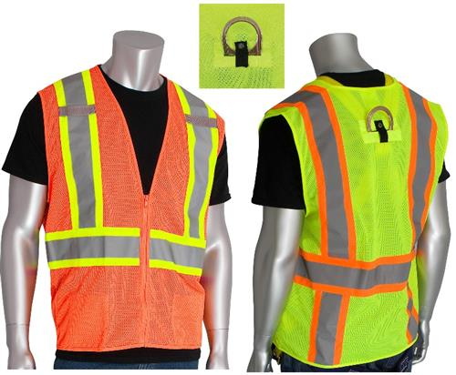 "PIP 302-0600D ANSI Type R Class 2 Mesh Safety Vest with ""D"" Ring Access, Hi Vis Lime or Orange"