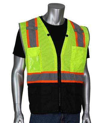 PIP 302-0650D-LY ANSI Type R Hi Vis Class 2 Two-Tone 11-Pocket Tech-Ready Surveyors Vest, Mesh with Ripstop Black Bottom Front, Zip Closure, D-Ring Access, Hi Vis Lime Yellow