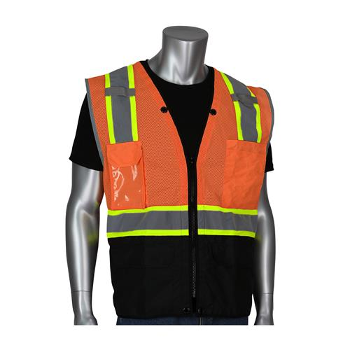 PIP 302-0650D-OR ANSI Type R Hi Vis Class 2 Two-Tone 11-Pocket Tech-Ready Surveyors Vest, Mesh with Ripstop Black Bottom Front, Zip Closure, D-Ring Access, Hi Vis Orange