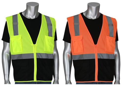 PIP 302-0710B ANSI Type R Class 2 Five Pocket Value Mesh Vest, Black Bottom Front, Hi Vis Yellow Or Orange
