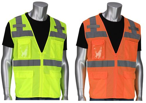 PIP 302-0750 ANSI Type R Class 2 Ten Pocket Value Surveyors Tech Vest, Hi Vis Yellow or Orange