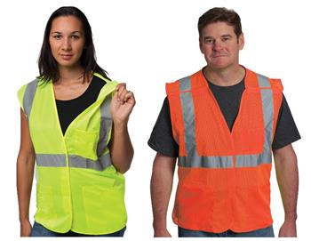 PIP 302-5PMV Breakaway Mesh Safety Vest Class 2 Type R 3 Pocket Hi Vis Lime or Orange