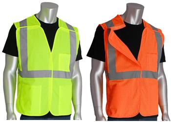 PIP 302-0500 Safety Vest Class 2 Type R Two Tone 11 Pocket Solid Front / Mesh Back Hi Vis Lime or Orange