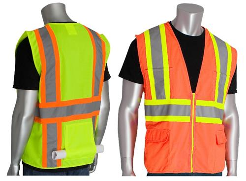 PIP 302-MAP Premium Solid Surveyors Safety Vest Class 2 Type R Two Tone 11 Pocket Hi Vis Lime or Orange