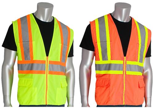 PIP 302-MAPM Premium Mesh Surveyors Safety Vest Class 2 Type R Two Tone 11 Pocket Hi Vis Lime or Orange