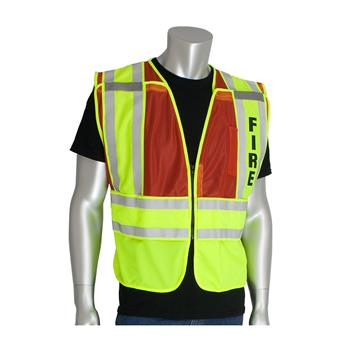 PIP 302-PSV-Red ANSI Type P Class 2 Public Safety Vest - FIRE Logo, 5 Point Breakaway, Hi Vis Yellow & Red