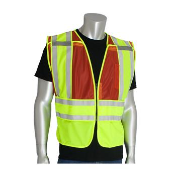 PIP 302-PSV-Red-NL ANSI Type P Class 2 Public Safety Vest, 5 Point Breakaway, Hi Vis Yellow & Red