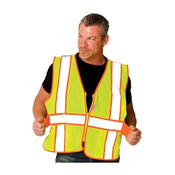 PIP 302-USV5 Expandable Mesh Safety Vest Class 2 Type R Two Tone 3 Pocket Hi Vis Lime or Orange