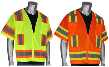 PIP 303-0500 Solid Front Mesh Back Surveyor Safety Vest Class 3 Type R Zipper Two Tone Hi Vis Lime or Orange