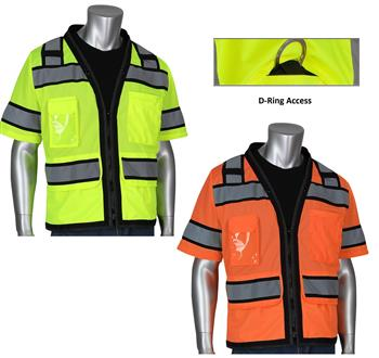 "PIP 303-0800D ANSI Type R Class 3 Black Two-Tone Eleven Pocket Tech-Ready Mesh Surveyors Vest with ""D"" Ring Access, Hi Vis Yellow or Hi Vis Orange"