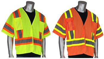 PIP 303-5PMTT Breakaway Mesh Safety Vest Class 3 Type R Two Tone 4 Pocket Hi Vis Lime or Orange