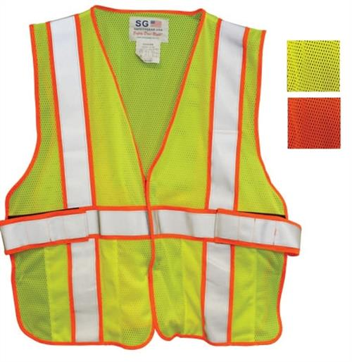 PIP ANSI Class 2 FR-Treated Mesh Vest, Lime Yellow, Adjustable, Universal Fit #305-USV5FRLY