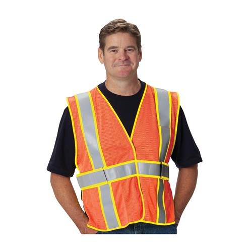 PIP ANSI Class 2 FR-Treated Mesh Vest, Orange, Adjustable, Universal Fit #305-USV5FROR