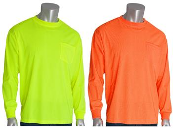 PIP 310-1100 Hi Vis Long Sleeve Mesh T-Shirt, Hi Vis Orange or Hi Vis Yellow, Non-ANSI
