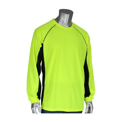 PIP 310-1150B-LY Hi Vis Birdseye Polyester Long Sleeve T-Shirt, 50+ UPF Sun Protection, Insect Repellent Treatment, Hi Vis Yellow, Black Trim