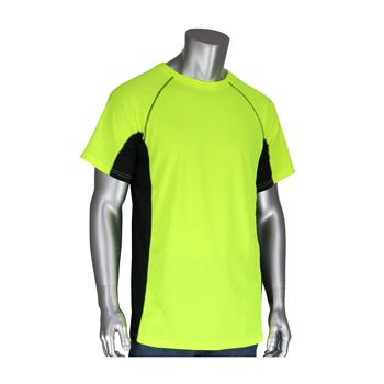 PIP 310-950B-LY Hi Vis Birdseye Polyester Short Sleeve T-Shirt, 50+ UPF Sun Protection, Insect Repellent Treatment, Hi Vis Yellow, Black Trim