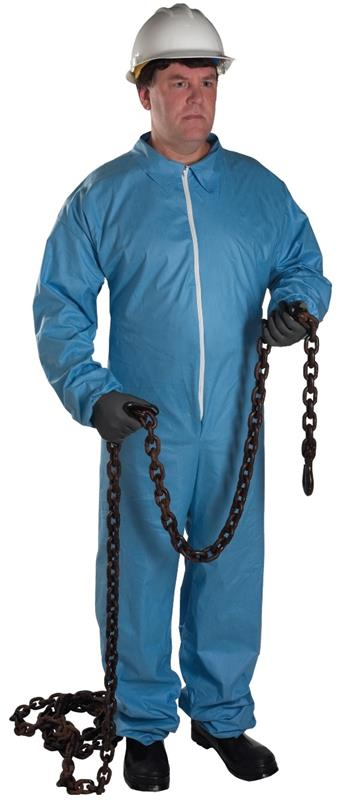 West Chester 3100 PosiWear FR - Blue Disposable Coveralls zipper front and collar, NFPA 701 Flame Retardant - Case/25