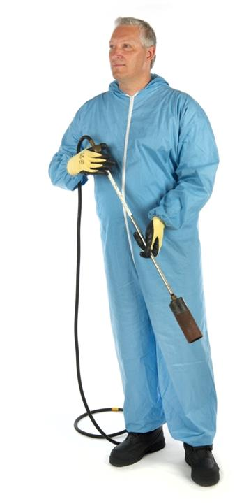West Chester 3106 PosiWear FR - Blue Disposable Coveralls, Zipper Front & Collar, Elastic Wrist/Ankle & Attached Hood, NFPA 701 Flame Retardant - Case/25