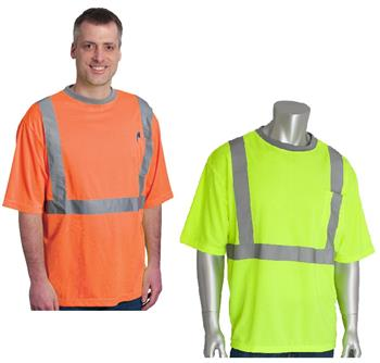 PIP 312-1200 Hi Vis Yellow or Orange ANSI Type R Class 2 Premium Mesh Short Sleeve T-Shirt