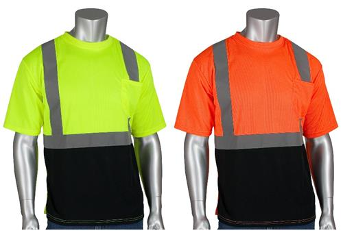 IP 312-1250B Hi Vis ANSI Type R Class 2 Premium Mesh Short Sleeve T-Shirt, Hi Vis Yellow or Orange with Black Bottom