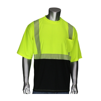 PIP 312-1275B Hi Vis ANSI Type R Class 2 Short Sleeve T-Shirt, Black Bottom Front, Segmented Tape, Hi Vis Yellow