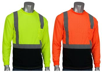 PIP 312-1350B Hi Vis Yellow or Orange with Black Bottom ANSI Type R Class 2 Premium Mesh Long Sleeve T-Shirt