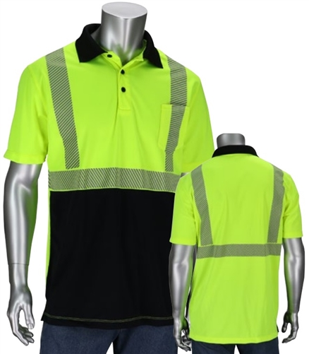 PIP 312-1500B Hi Vis ANSI Type R Class 2 Short Sleeve Polo Shirt, Black Bottom Front, Segmented Tape, Hi Vis Yellow